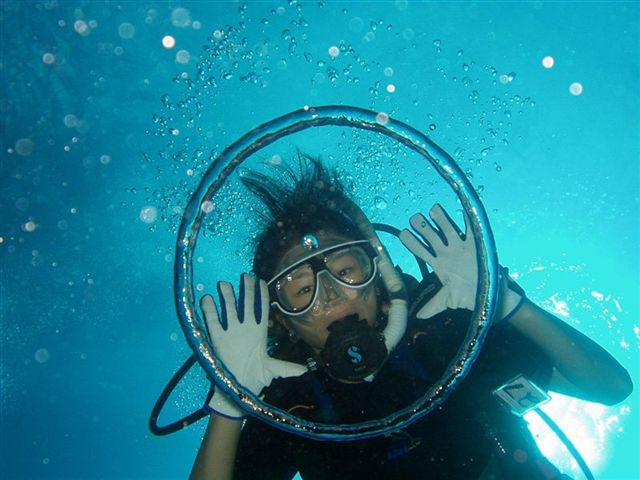 Masumi in a bubble ring at Hap's Reef