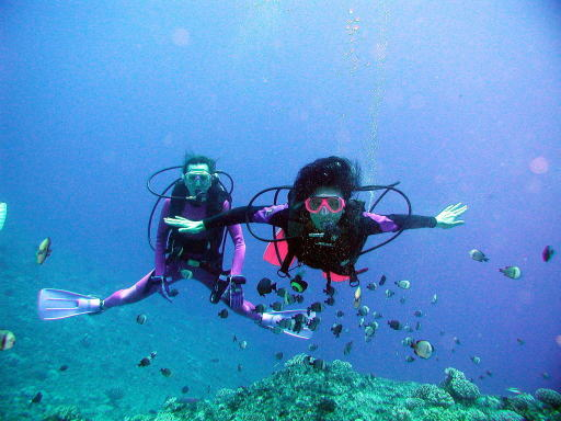 Akiko and her friend with Pyramid Butterfly fish