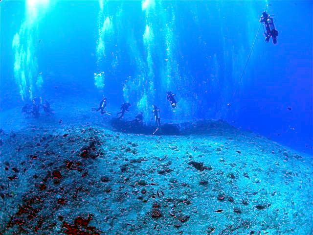 Divers ready to enter Guam's famous Blue Hole