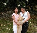 "Sabrina & Kate from Taiwan with our dog ""Hana"""